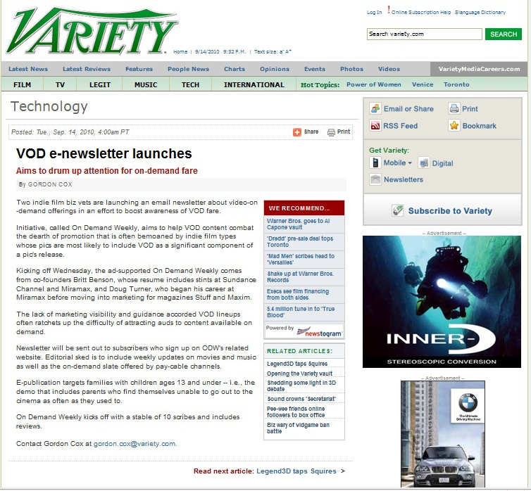 Variety: VOD e-newsletter launches